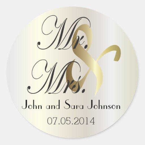 Wedding Personalized Mr & Mrs Stickers