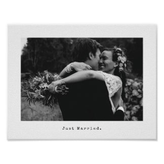 Wedding Photo and Typewriter Caption Just Married Poster