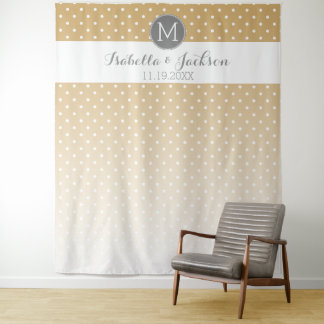 Wedding Photo Backdrop Bride Groom - gold ombre Tapestry