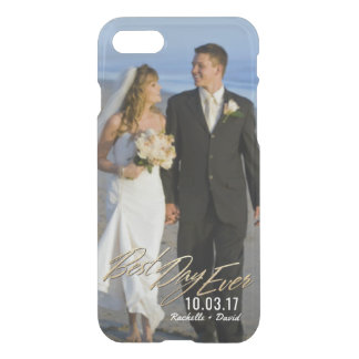 Wedding Photo Best Day Ever Couples Gold Overlay iPhone 8/7 Case
