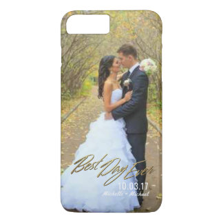 Wedding Photo Best Day Ever Couples Gold Overlay iPhone 8 Plus/7 Plus Case