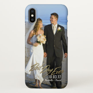 Wedding Photo Best Day Ever Couples Gold Overlay iPhone X Case