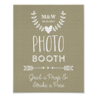 Wedding Photo Booth Sign Burlap Hearts Arrows Poster