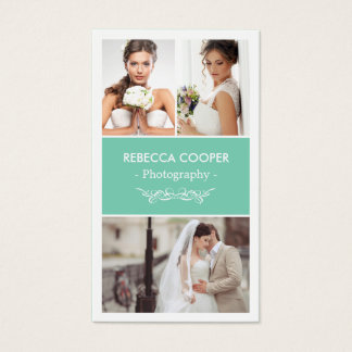 Wedding Photo Collage Elegant Clean Photography Business Card