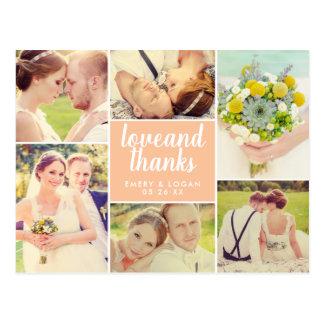 Wedding Photo Collage   Peach Thank You Postcard