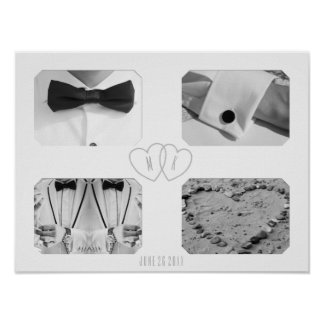 Wedding Photo Collage with Monogram Poster