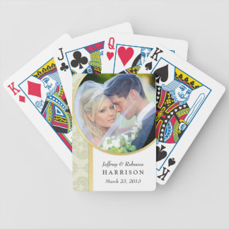 Wedding Photo Ecru Damask Playing Cards