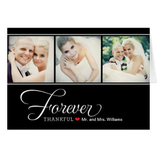Wedding Photo Forever Thankful | Black Note Note Card