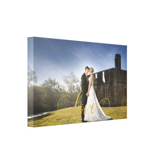 Wedding photo gold love typography canvas print