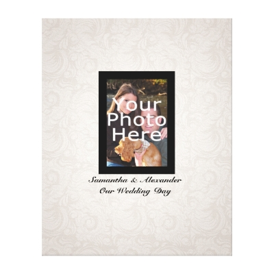 Features subtle white on white damask feather pattern and black photo frame