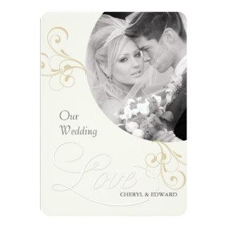 "Wedding Photo Invitations - Elegant Vintage Ivory 5"" X 7"" Invitation Card"