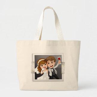 Wedding photo jumbo tote bag