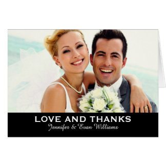 Wedding Photo Love and Thanks | Custom Color Note Card