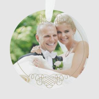 Wedding Photo Ornament | Mr. and Mrs. Gold Design