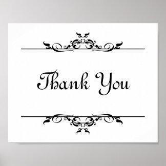 Wedding photo prop sign Thank You elegant scroll