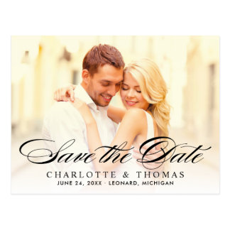 Wedding Photo Save the Date | Black Elegant Script Postcard