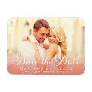 Wedding Photo Save the Date | Rose Gold Rectangular Photo Magnet