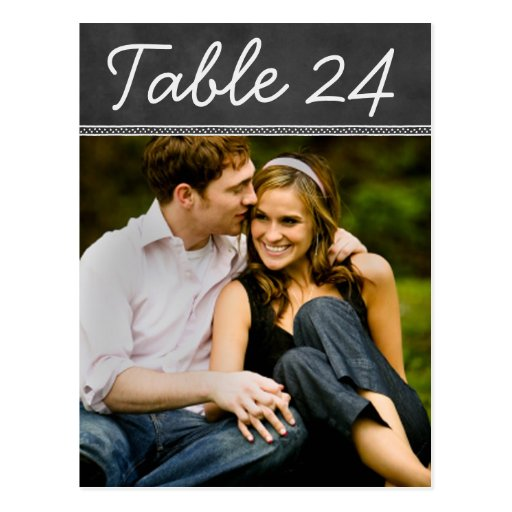 Wedding Photo Table Number Cards | Chalkboard Postcard