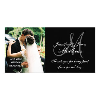 Wedding Photo Thank You Cards with Monogram Black Photo Card