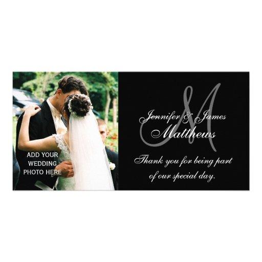 Wedding Photo Thank You Cards with Monogram Black Custom Photo Card