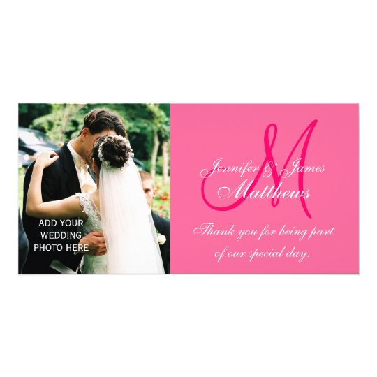 Wedding Photo Thank You Cards with Monogram Pink Photo Greeting Card