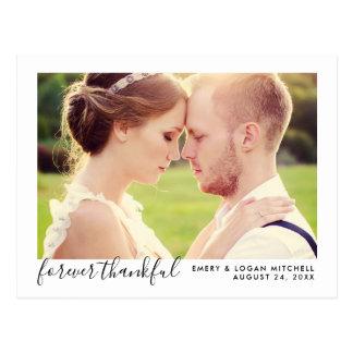 Wedding Photo Thank You   Forever Thankful Postcard