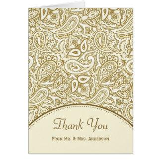 Wedding Photo Thank You Luxury Gold Ivory Paisley Card