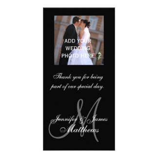 Wedding Photo Thank You Message Monogram Names Personalized Photo Card