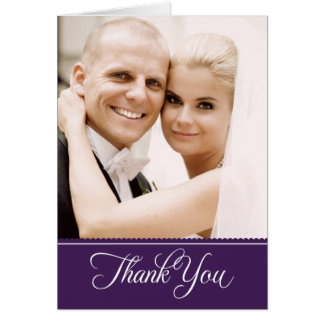 Wedding Photo Thank You Note Cards | Purple
