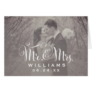 Wedding Photo Thank You Note   Sepia Folded Style Note Card