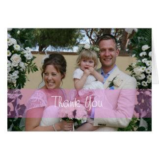 Wedding Photo Thank You pink Greeting Card