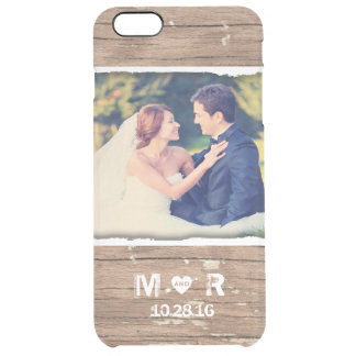 Wedding Photo Wood Rustic Country Monogram Clear iPhone 6 Plus Case