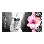 Wedding Photocard Rose Damask Pink Customized Photo Card