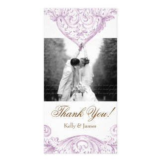 Wedding Photocard Vintage Spring Purple Picture Card