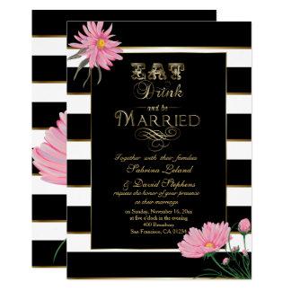 Wedding Pink Chrysanthemum Black White Stripes Card