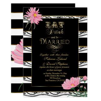 Wedding Pink Mums Black Lace White Stripes Card