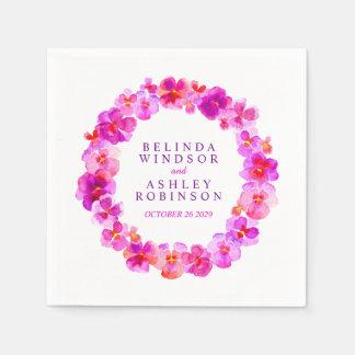 Wedding pink pansy custom napkins disposable serviette