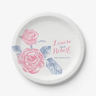 Wedding pink rose inked art custom paper plates