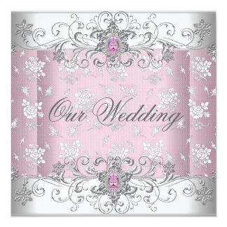 Wedding Pink Silver White Diamond Jewel Lace 13 Cm X 13 Cm Square Invitation Card