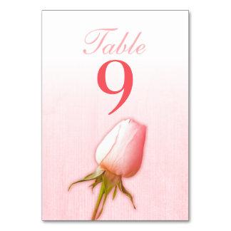 Wedding pink single rose bud table numbers table card