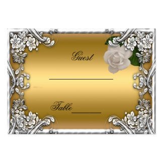 Wedding Place Cards Gold Cream Rose Silver White Business Card Template