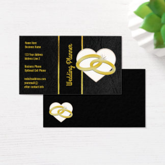 Wedding Planner | Black Leather Look Gold Rings Business Card