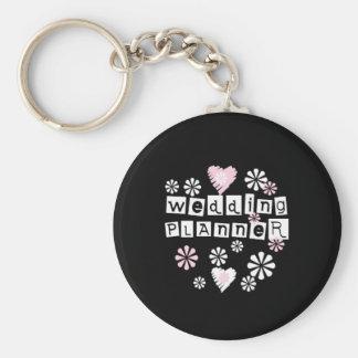 Wedding Planner Flowers White on Black Basic Round Button Key Ring