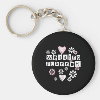 Wedding Planner Flowers White on Black Key Ring
