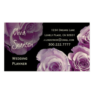 WEDDING PLANNER Lilac Purple Roses Business Card