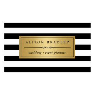 Wedding Planner - Modern Black White Stripes Pack Of Standard Business Cards