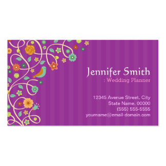 Wedding Planner - Purple Nature Theme Pack Of Standard Business Cards