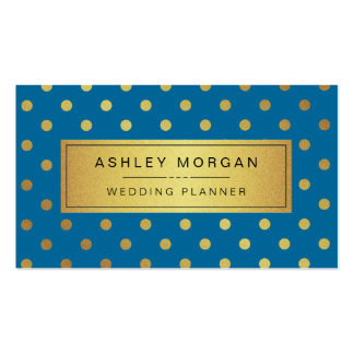 Wedding Planner - Royal Blue Gold Dots Pack Of Standard Business Cards
