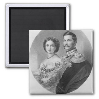 Wedding Portrait of Their Royal Highnesses Square Magnet