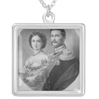 Wedding Portrait of Their Royal Highnesses Square Pendant Necklace